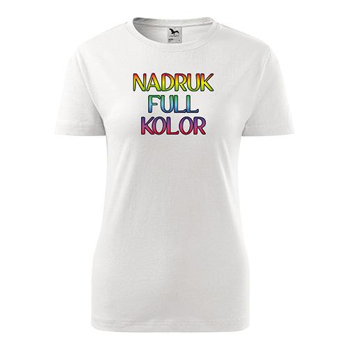 Koszulka damska classic new biała z własnym nadrukiem 1 sztuka